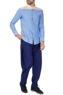 Blue pleated style cotton trousers