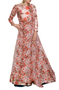Red floral printed lehenga & drape jacket