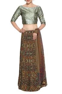 Brown printed lehenga & silk blouse