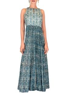 Blue chiffon printed dress