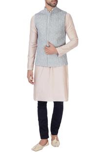 Pink silk kurta & nehru jacket
