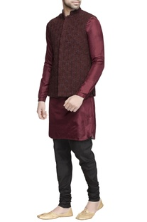 Burgundy embroidered nehru jacket with kurta