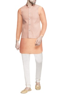 Peach pinktucked nehru jacket & kurta