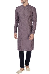 Purple kashmiri embroidered kurta