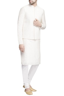 White embroidered bundi with kurta