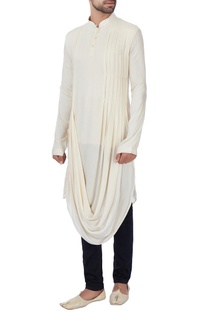 Cream textured rayon kurta