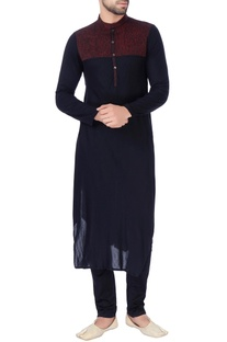Black textured yoke panel kurta