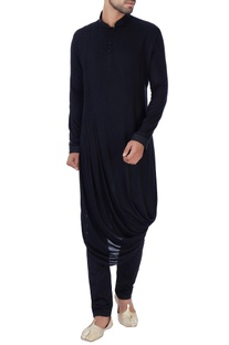 Black draped rayon kurta