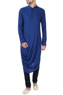 Blue box pleated draped kurta