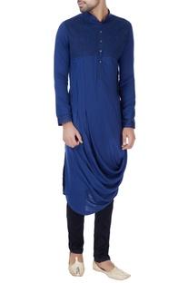 Blue draped style silk kurta