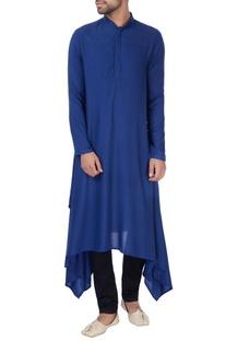 Blue side asymmetric style kurta