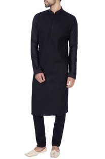 Black embroidered cotton silk kurta