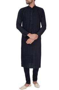Black pleated cotton silk kurta