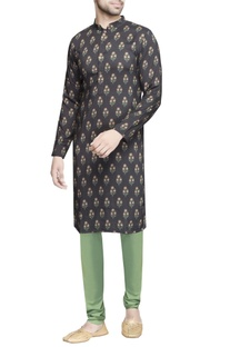 Green cotton silk churidar pants