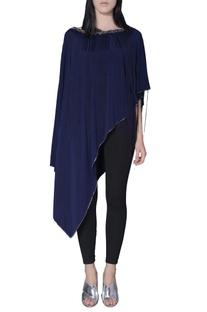 Navy blue asymmetric fringe cape