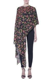 Multicolored floral asymmetric cape