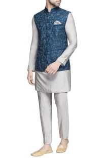 Teal blue embroidered nehru jacket
