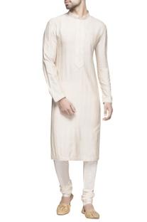 White spun silk  long kurta set