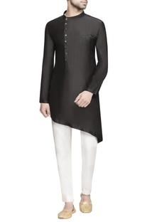 Black asymmetric silk kurta