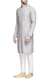 Grey textured silk kurta