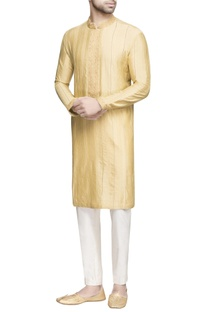 Yellow textured long kurta