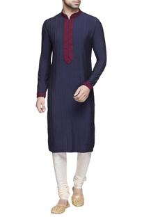 Navy blue embroidered  kurta