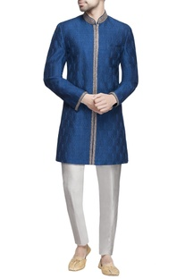 Blue embroidered raw silk sherwani