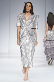 Metallic silver midi dress