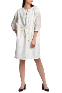 White androgynous dress in foil print