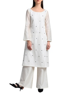 White kurta in handwork embroidery