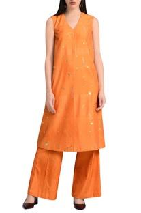 Orange a-line embroidered kurta