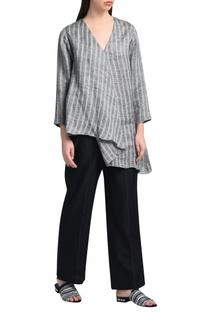 Black chanderi silk pants