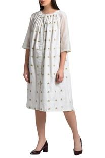 White zari embroidered dress
