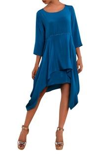Blue crepe asymmetric dress