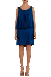 Blue overlap sleeveless dress