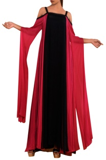 Pink & black cold shoulder gown