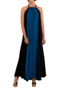 Blue & black halter gown