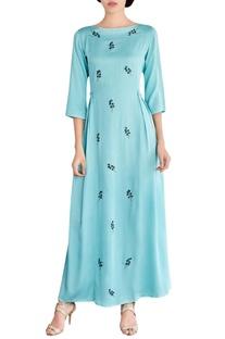 Mint blue embroidered maxi dress