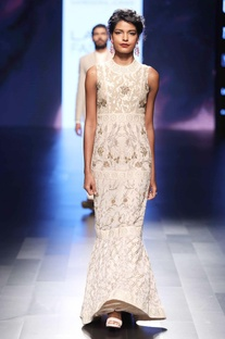 Beige hand embroidered gown
