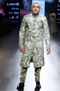 Green floral silk sherwani