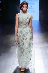 Green sleeveless net dress