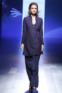 Blue applique embroidered gown with blazer