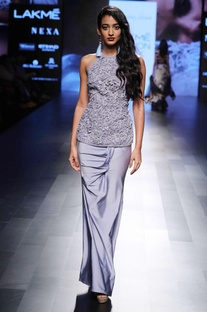 Purple halter style gown