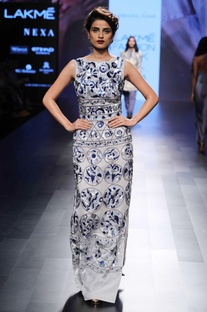 Blue & white sequin gown