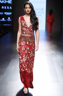 Red embellished fitted gown