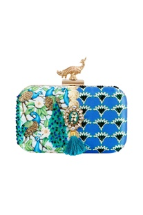 Blue resham thread handcrafted clutch