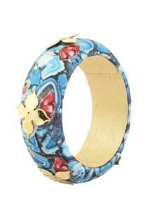 Blue floral printed bangle