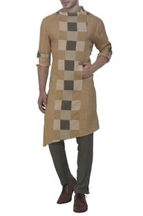 Beige & green kurta with check panel