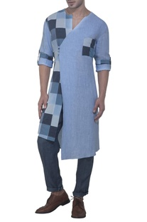 Blue check panel kurta
