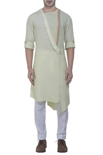 Mint gren kurta with rainbow stripes